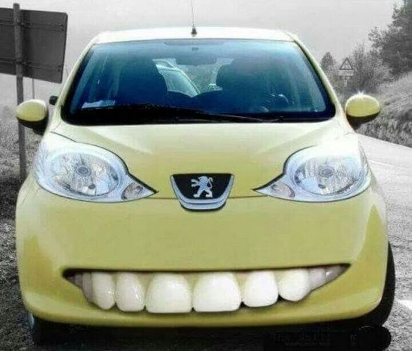 funny car with teeth