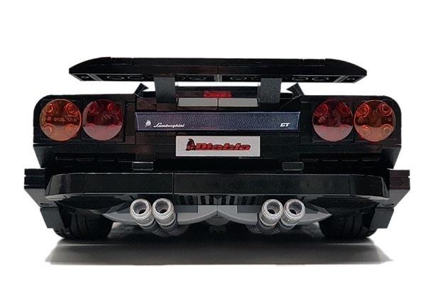 The rear of the LEGO Lamborghini Diablo
