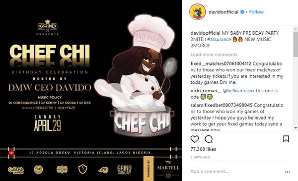 Davido's post on Instagram