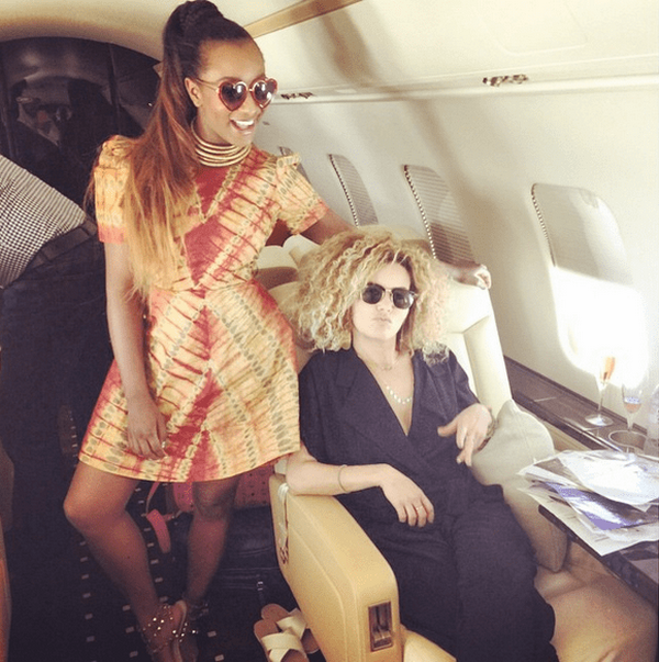 DJ Cuppy in a private jet