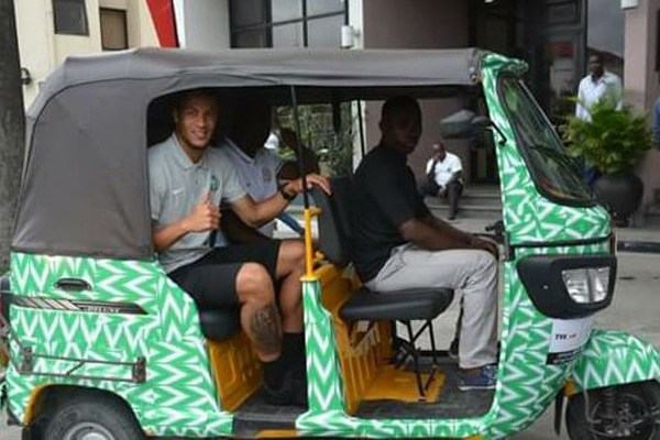 William Troost-Ekong spotted in a keke napep