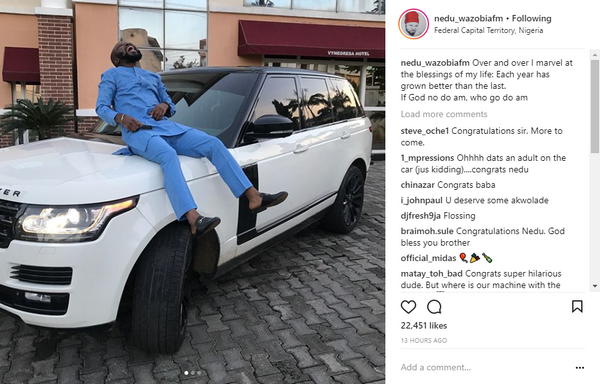 Ani Chinedu Emmanuel and his new ranger Rover vogue on Instagram