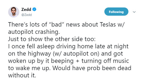 Zedd's tweet on his Twitter on Tesla's auto pilot.