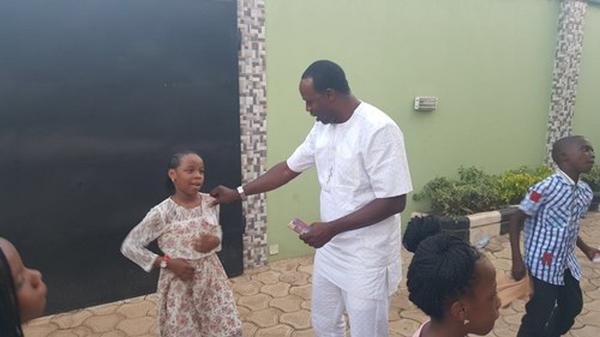 Femi Adebayo celebrating his 43rd birthday party at his rented house