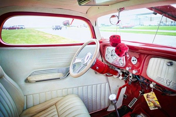 The interior of a red car