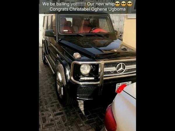 Bovi Ugboma shoes off his car