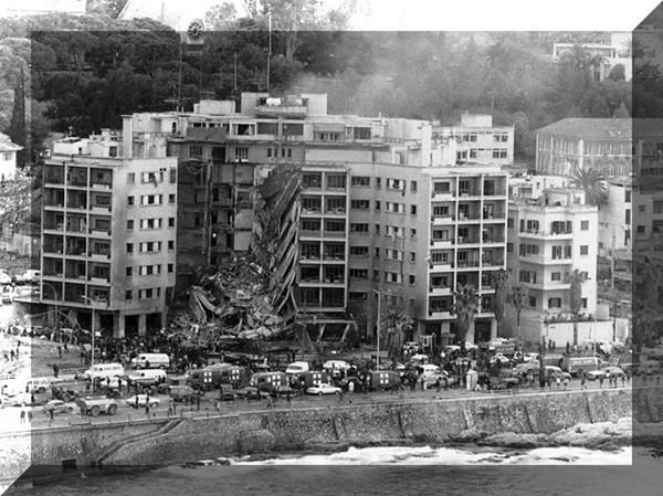 The U.S Embassy in Beirut after the tragic car bomb attack
