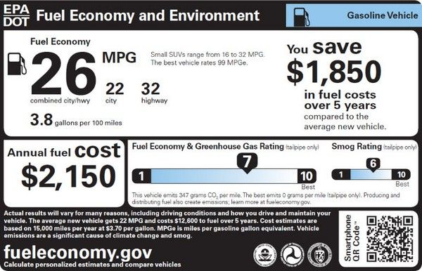 EPA fuel economy sample