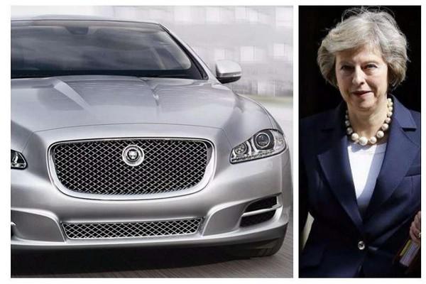 Jaguar XJ Sentinel and Theresa May