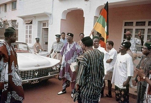 Nnamdi Azikiwe with his Volkswagen in 1959.