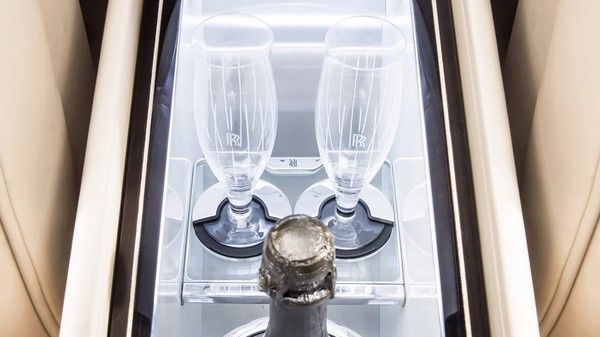 champagne chiller of Rolls Royce Sweptail - the most expensive car in the world