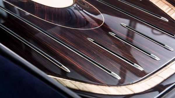 beautiful wooden detail on of Rolls Royce Sweptail - the most expensive car in the world