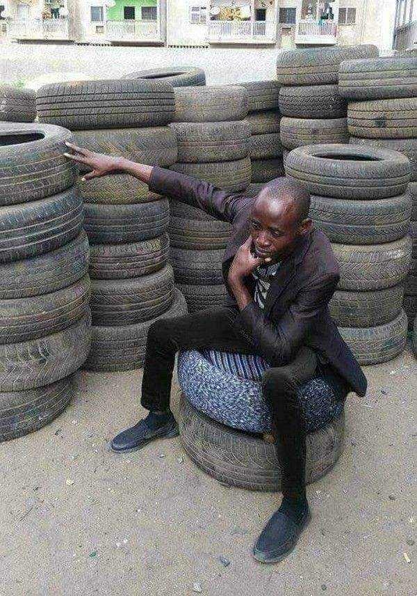 Nigerian man turning tyres into house furniture