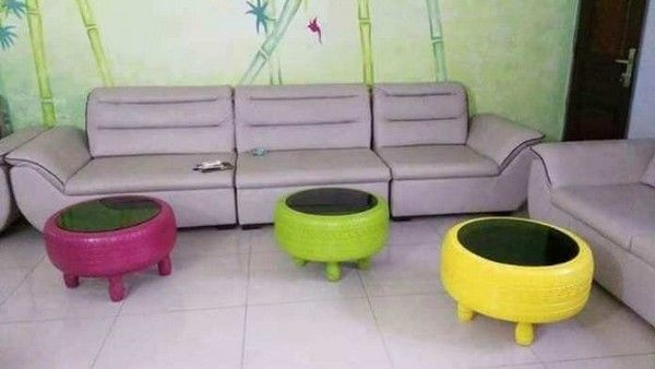 stools made from tyres by a Nigerian man