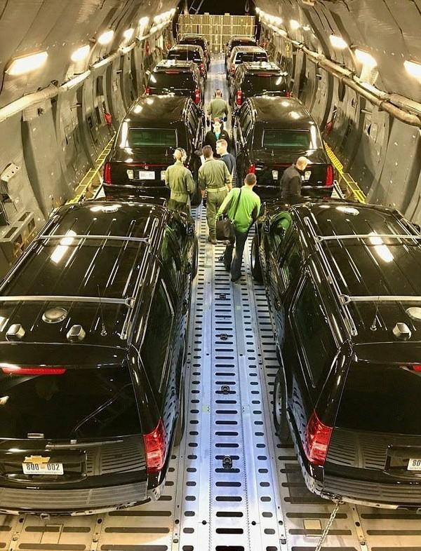US President's Motorcade inside C5 Galaxy aircraft