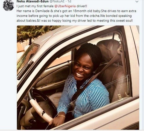 Twitter post on Nigerian female Uber driver