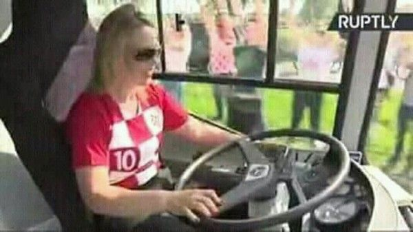 Croatian President driving the national football team
