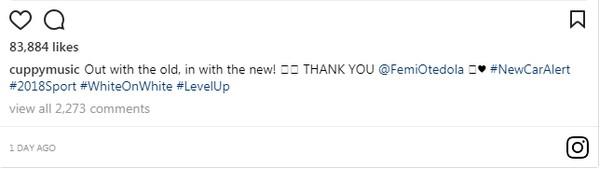DJ Cuppy's post on new car