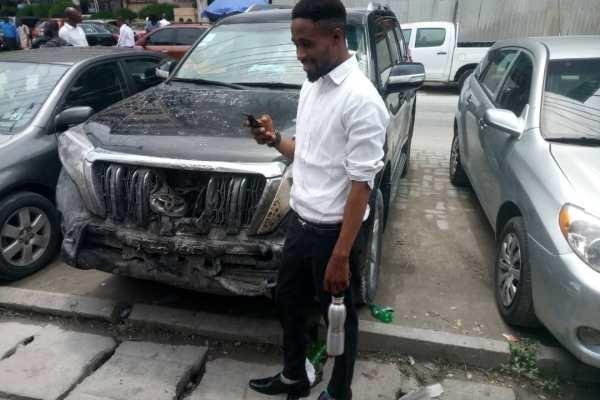 the young man drove burning car