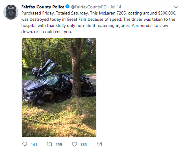 Tweet of a McLaren 720S wrapping around a tree