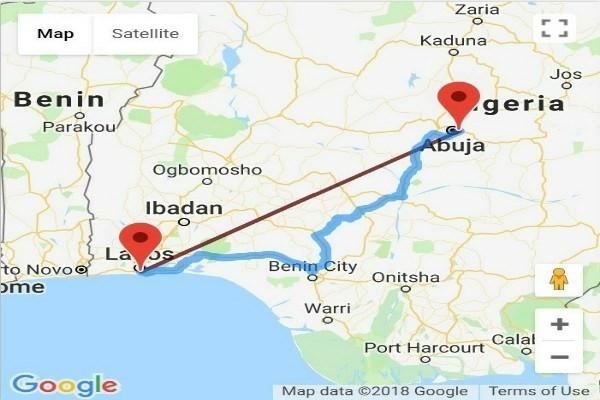 Google map of Lagos to Abuja