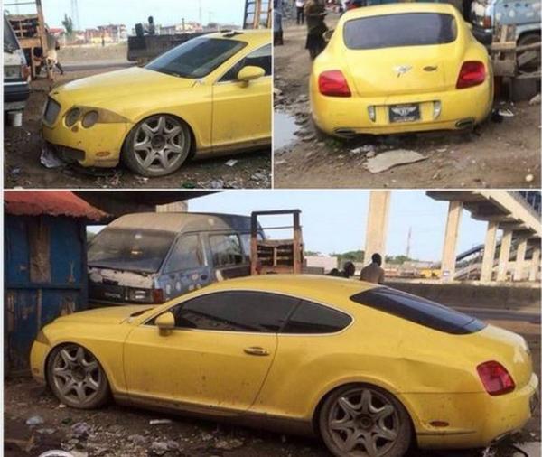 Abandoned Bentley Continental GT in Ibadan
