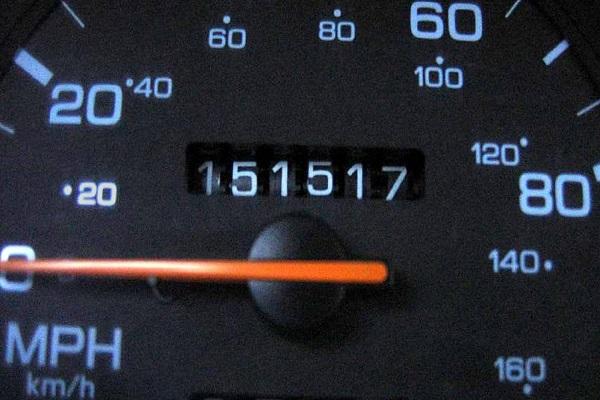 A digital dashboard with mileage