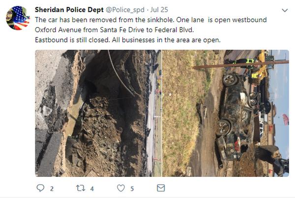 Sheridan Police Department's tweet regarding the sinkhole accident