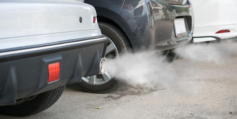 a car emitting white smoke