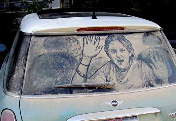 painting of girl trapped inside car
