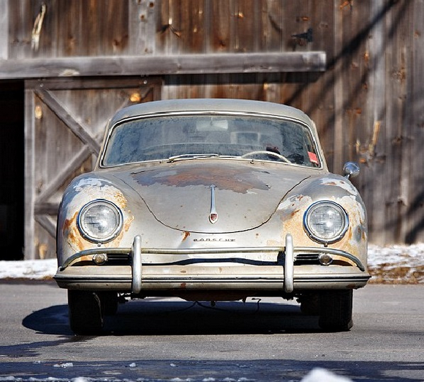 front of the rusty 60-year-old Porsche not in used for 45 years