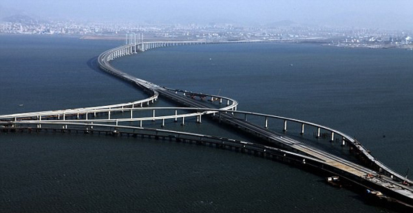 World's longest sea bridge that connects Mainland China with Hong Kong and Macau