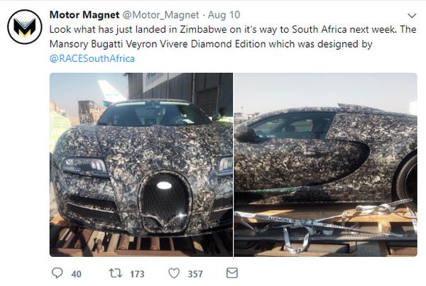 screenshot of the Tweeter post about the Mansory Bugatti Veyron Vivere Diamond Edition