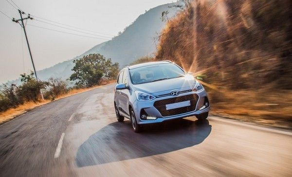 Hyundai car performing on road