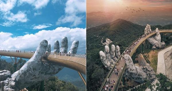 the heavenly scene from Golden Bridge in Da Nang, Vietnam