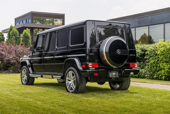 angular rear of the Armored Mercedes-Benz G63 AMG Limousine