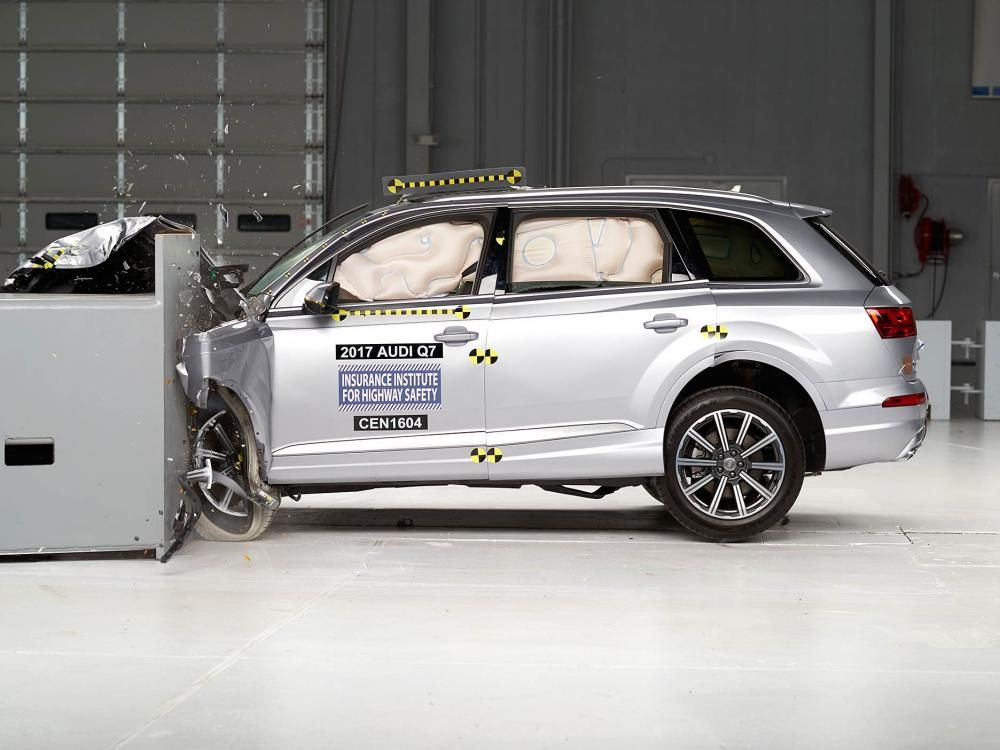 an Audi car in a crash test