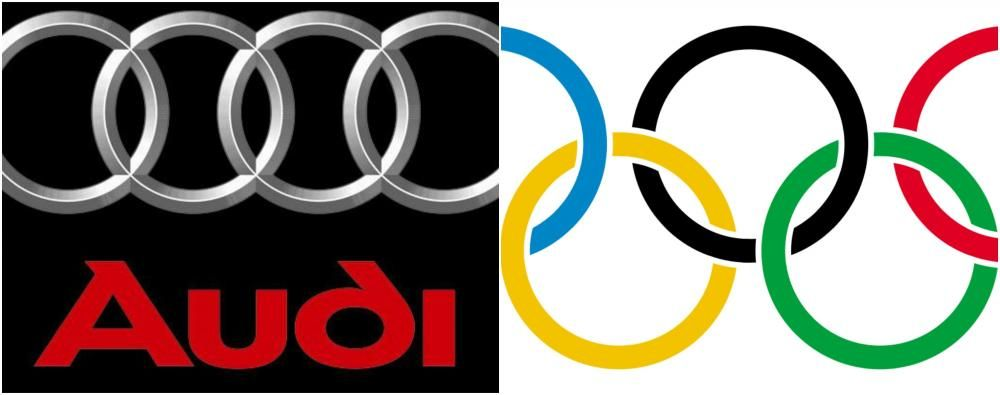 the logo of the olympic and the logo of Audi