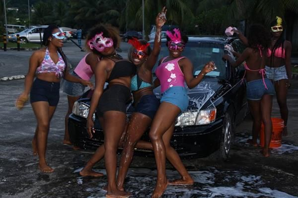 a group of hot black girls in sexy car wash dance