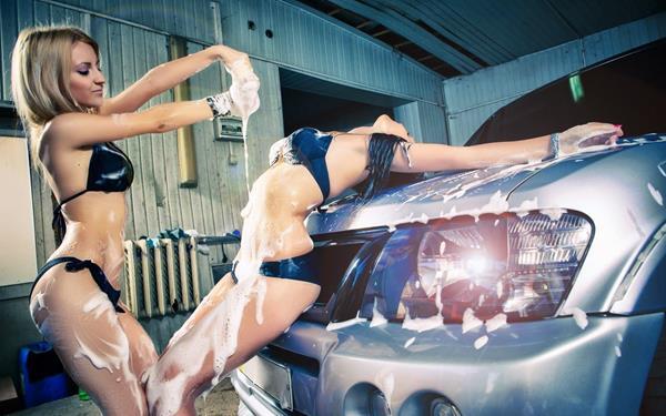 Western girl washing car