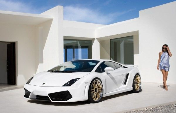 Lamborghini Gallardo and girl in white