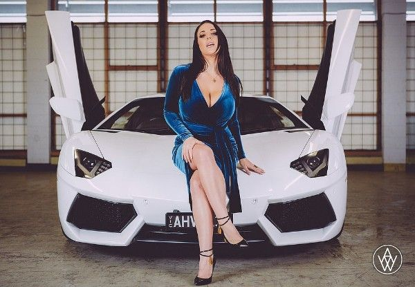 a white Lamborghini and a sexy girl