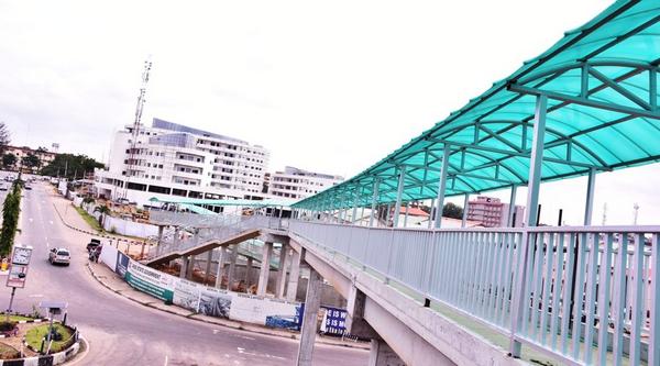 Pedestrian Bridge in along the Lagos-Ibadan Expressway, Lagos State, Nigeria.