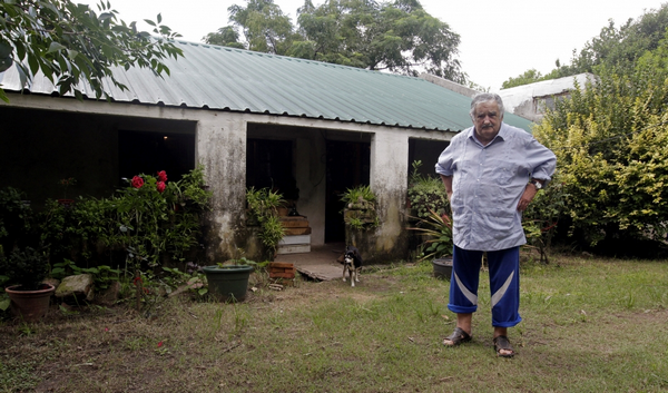 Jose Mujica in his garden yard
