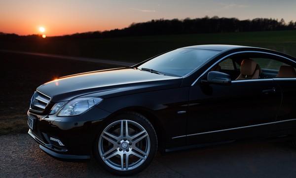 Mercedes benz E350 in twilight