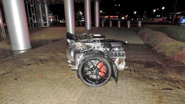a half of the crushed Lamborghini Huracan