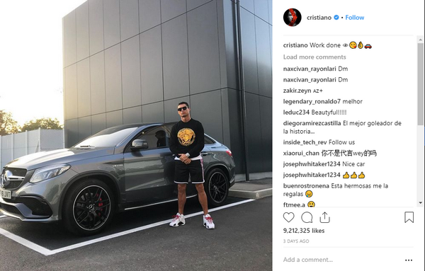 Ronaldo post a photo of him beside his Mercedes-Benz AMG GLR 63 S Coupe