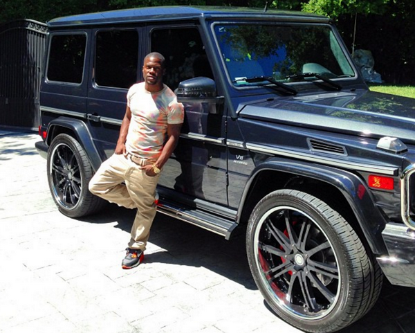 Kevin Hart beside his Mercedes-Benz G-Wagon