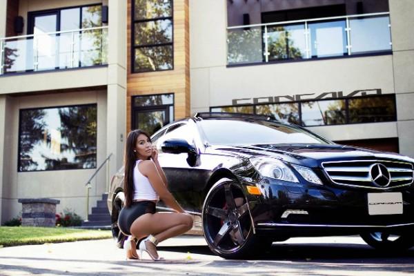 a girl and a black Mercedes Benz E350