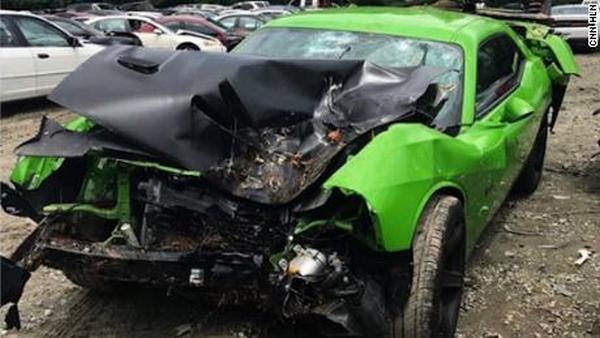 The wrecked Dodge Challenger SRT of Offset